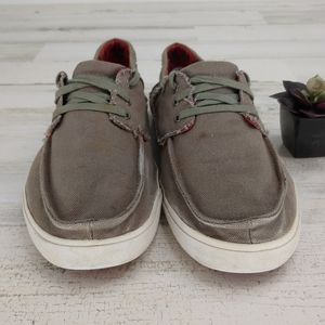 Sanuk Shoes - Sanuk Mens Grey Loafers Canvas Boat Shoes